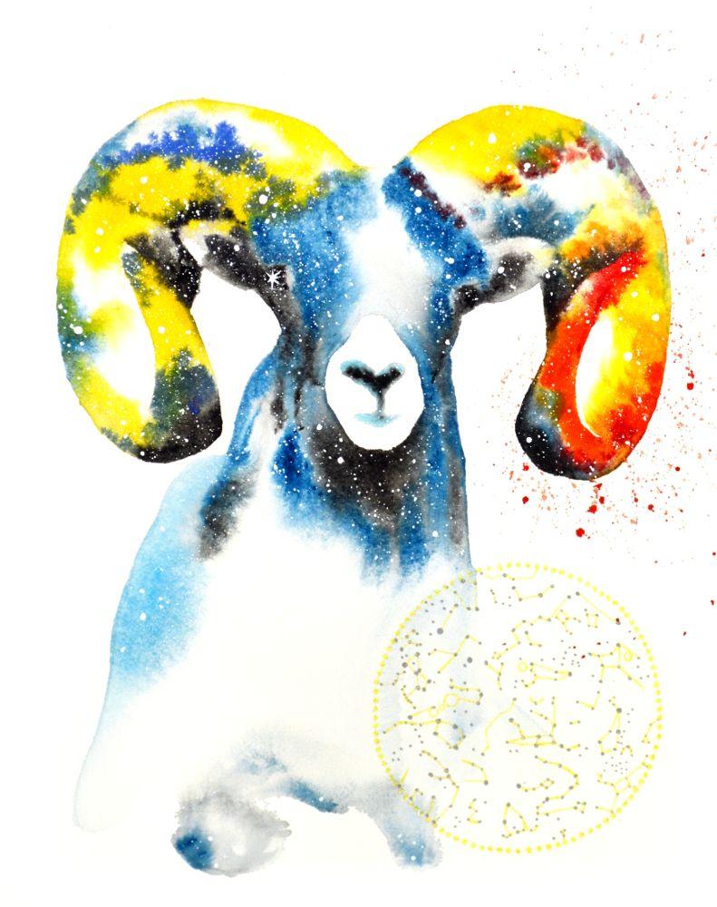 Ram Spirit Animal Galaxy Painting And Symbolism Art Prints