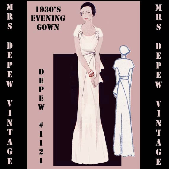 This is a digital draft-at-home pattern for a stunning bias cut, full length French evening gown from 1933. This cap-sleeve gown has a unique cut-out