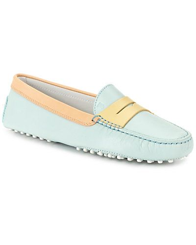 TOD's 'Gommino' Tricolor Leather Driving Shoe in Blue, Beige & Yellow. For  US Made in Italy Blue, beige and yellow driving shoe with a designated  penny slot ...