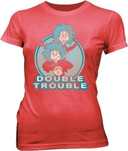 Commemorate your favorite cult classic with an awesome Dr. Seuss Double Trouble Thing 1 & 2 Dusty Red Juniors T-shirt . Free shipping on Dr. Seuss' Birthday Channel 7 orders over $50.
