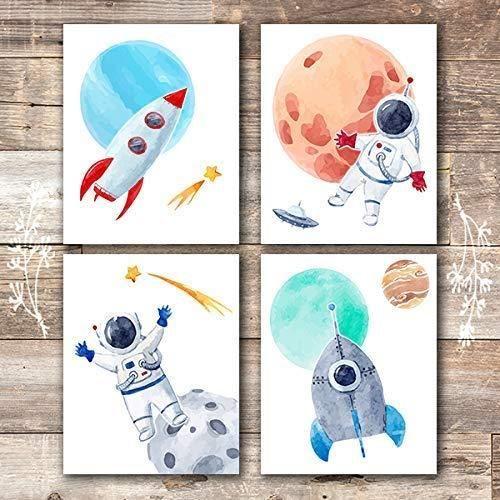 Kids Space Decor Art Prints (Set of 4) - 8x10s - Unframed Prints / null