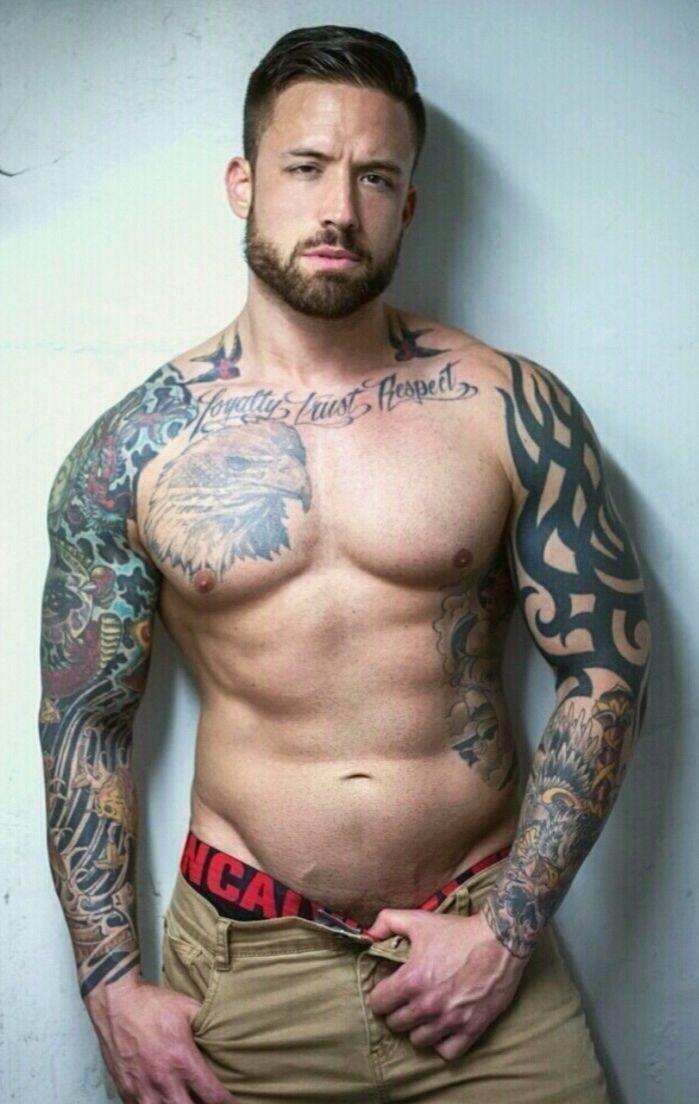 Gay porn actor tattooed