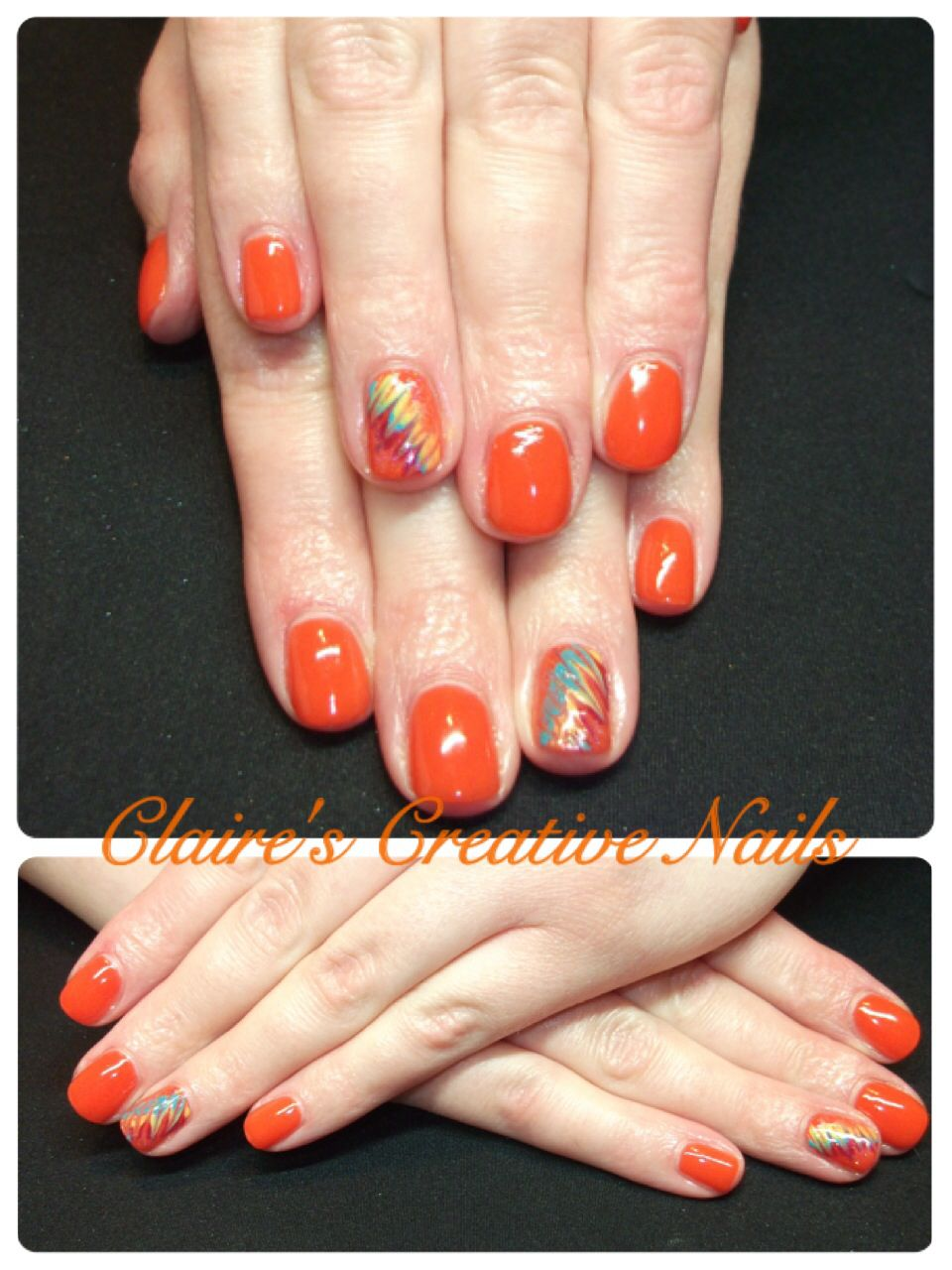 CND Shellac Electric Orange with hand painted Paradise