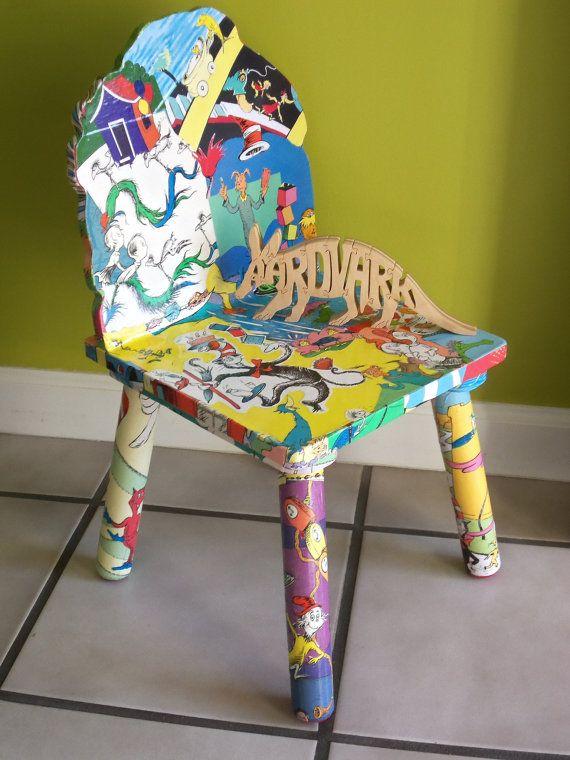 Decoupaged Dr Suess Childu0027s Chair   Aardvark Furniture