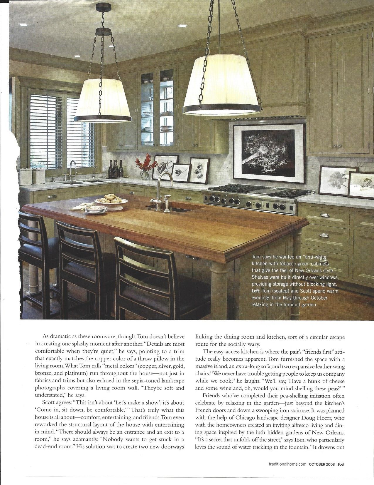 New Orleans style tobacco green cabinets | Green kitchen ...