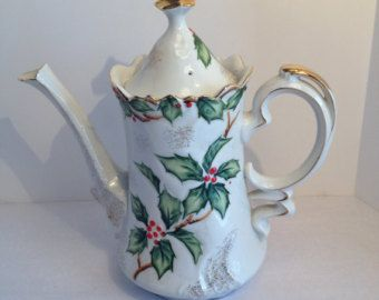 Vintage Lefton Cofeepot/Teapot, Holly Design, Hand-Painted, Japan, Circa 1950's, Gold Trim, Holiday Coffeepot,  Labels on Bottom.