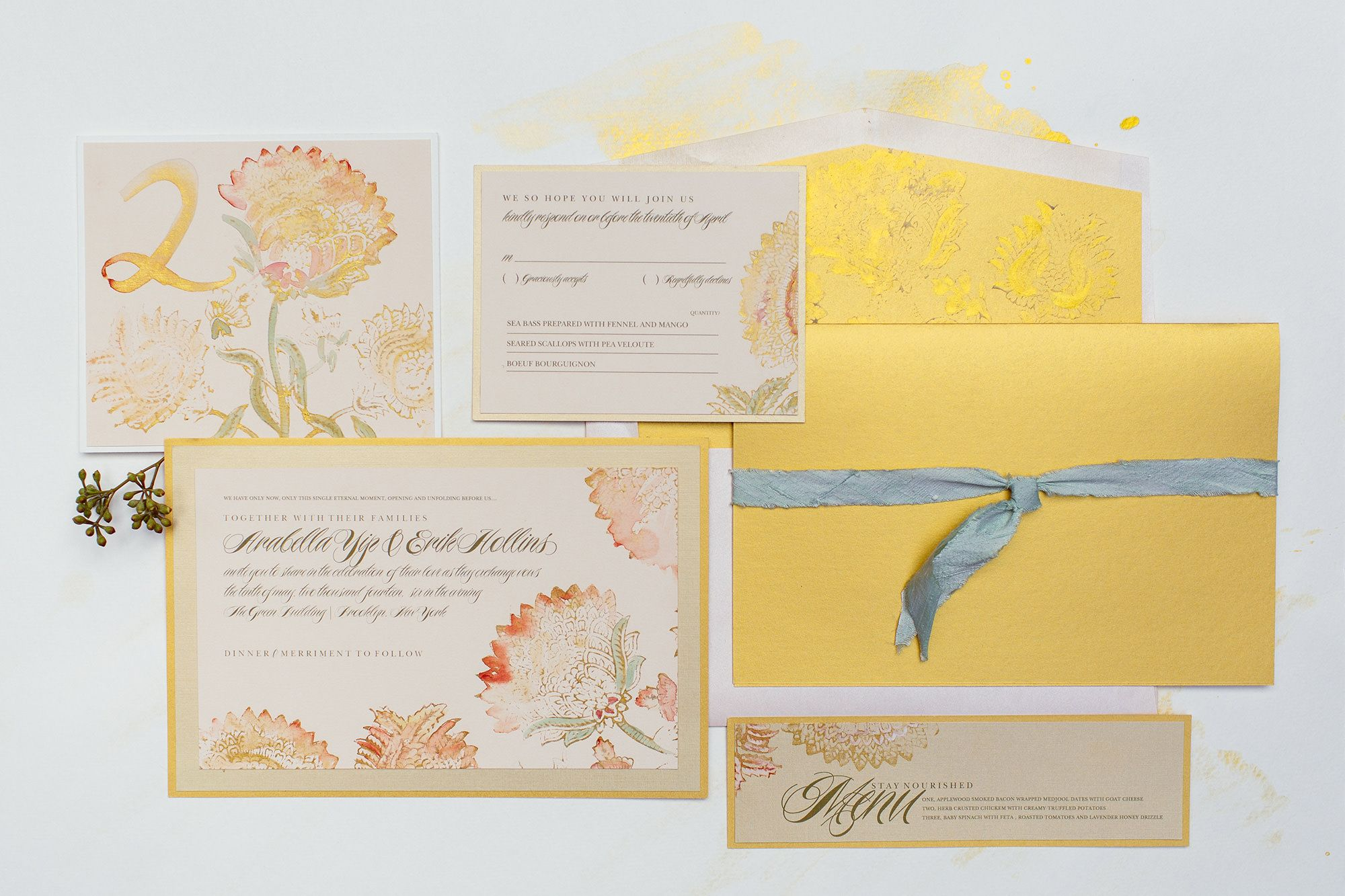 vintage-poppies-gold-amber-watercolor-wedding-invitation