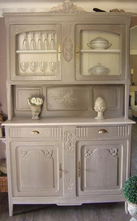 Vaisselier cottage so chic home sweet home style painting old furniture shabby chic - Relooking vieux meubles ...
