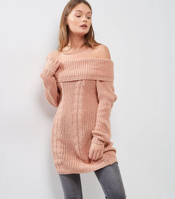 Cameo Rose Pink Cable Knit Bardot Jumper Dress | New Look