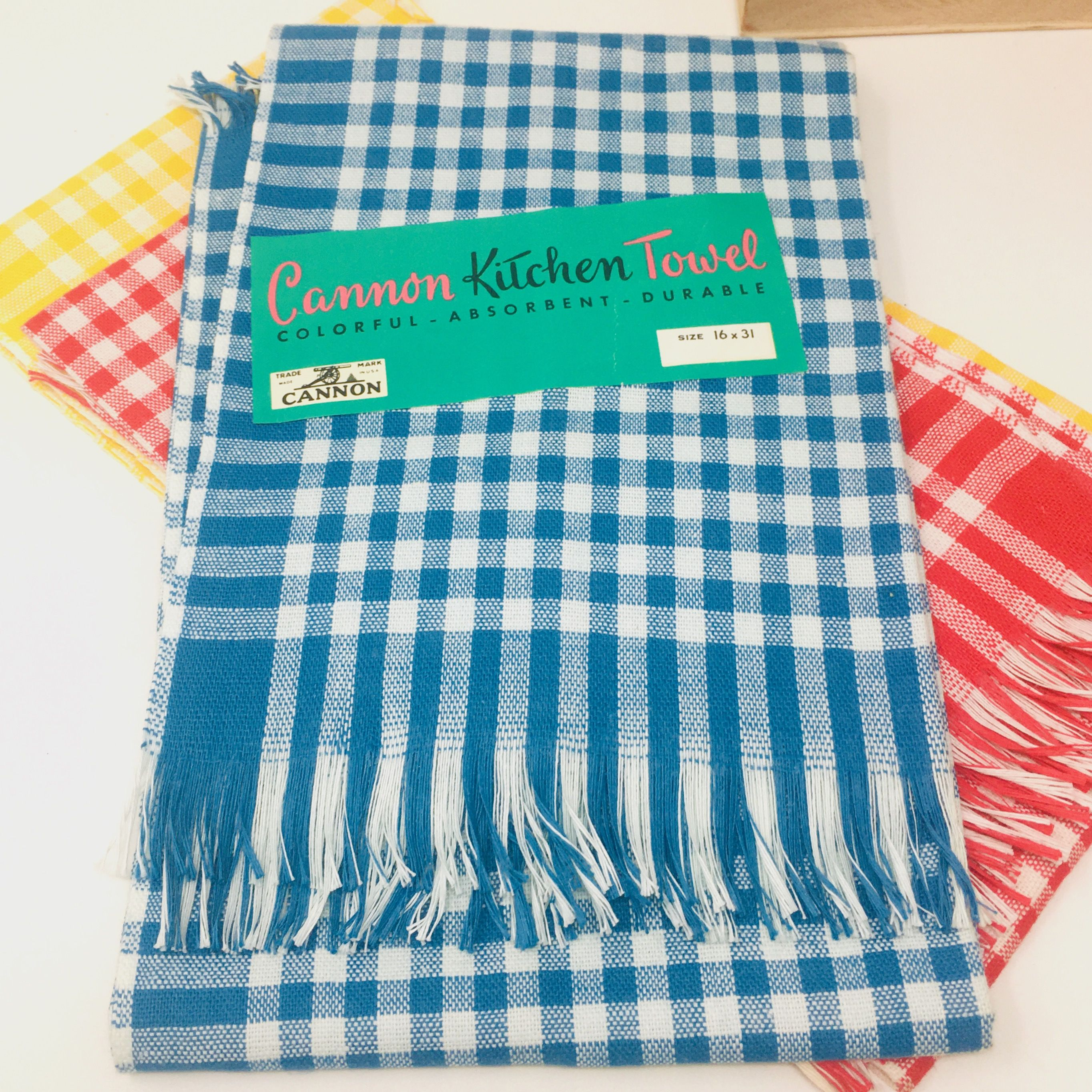 Canon Mills Kitchen Towel Gingham Check Fringed Cotton Choice