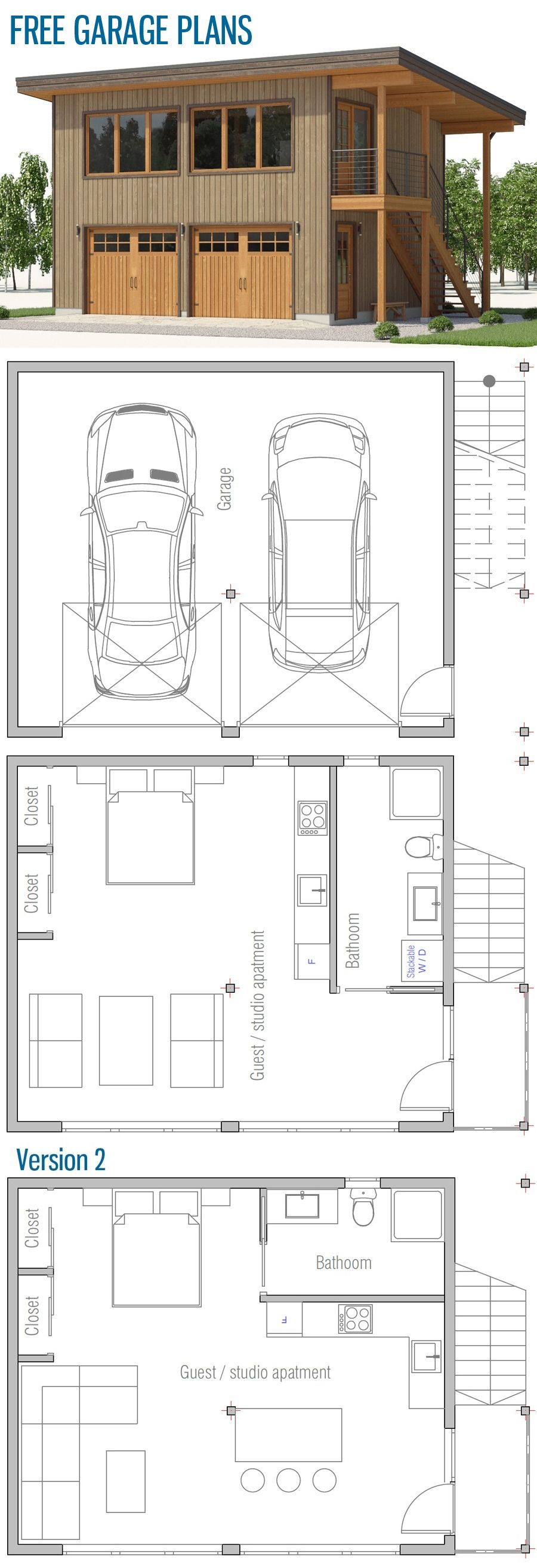 Free Garage Plans | TH/SMALL HOMES | Garage guest house, Garage ...