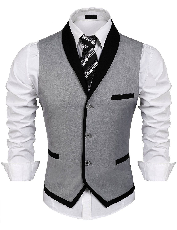 942cfb7e06e5 Men s V-Neck Sleeveless Slim Fit Vest-Jacket Business Suit Dress ...