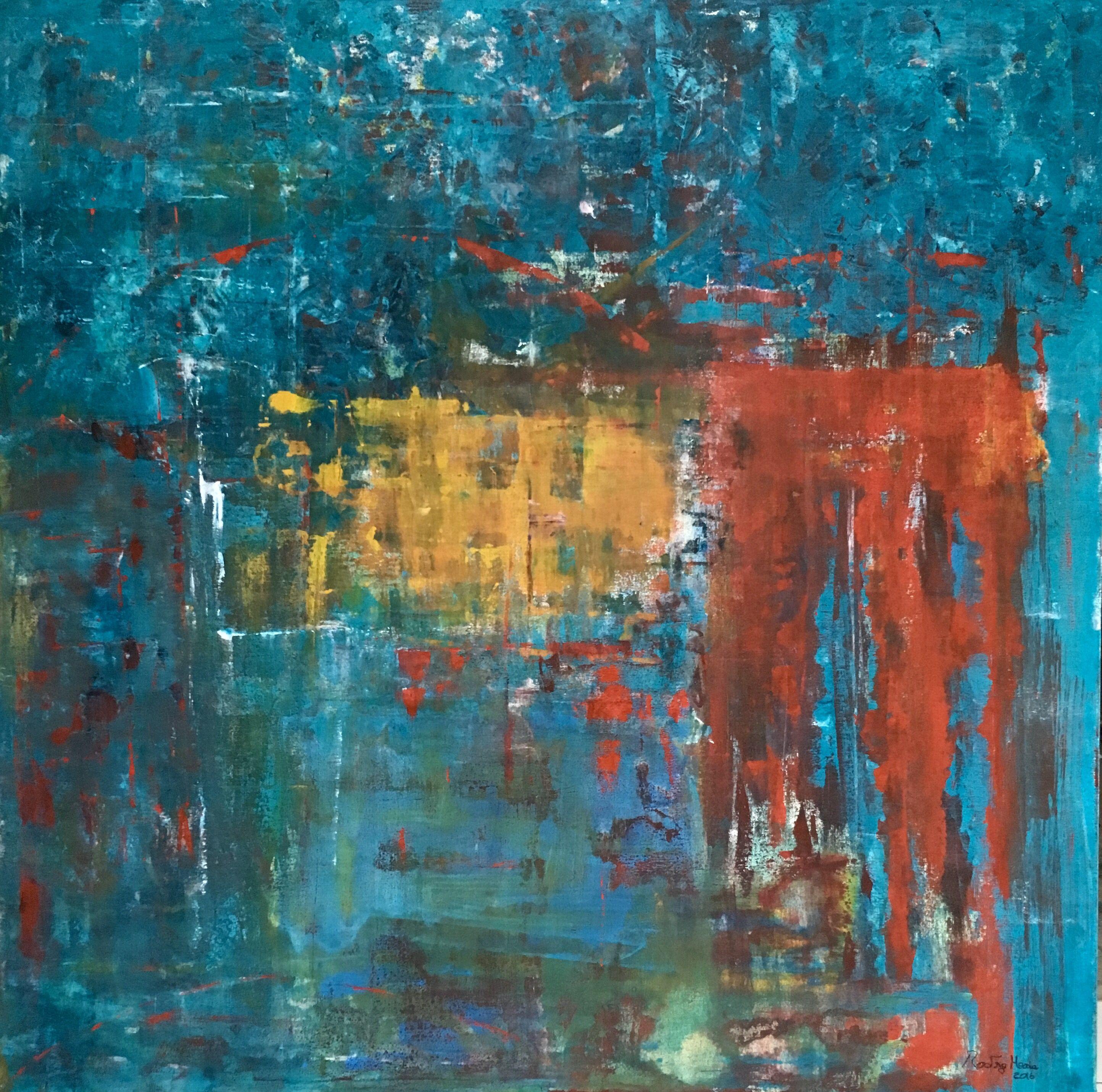 Abstrato - Acrílico sobre  tela (espátula), tamanho 130x130cm, pintura de Rodrigo Maria