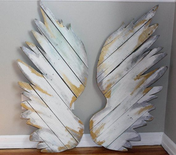 Pallet wings angel wings home decor wall art large wooden wings  reclaimed distressed pallet art  white wings red wings