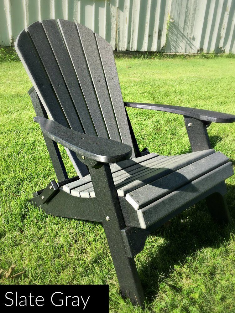 Fan Back Amish All Weather Poly Adirondack Chair Slate