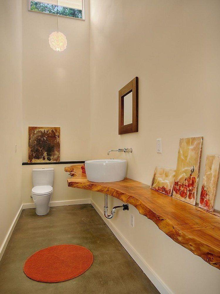 Salle De Toilette En Longueur Amenagee Avec Un Plan Vasque Bois Brut Live Edge Plan Vasque Salle De Toilette Comptoirs En Bois