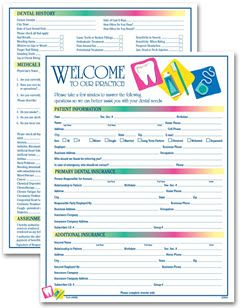 Two Sided Dental Icon Design Registration History Form Size 8
