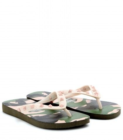 3fd8fb1c1a7e1 Valentino Camouflage-print Studded Flip-flops on shopstyle.co.uk ...