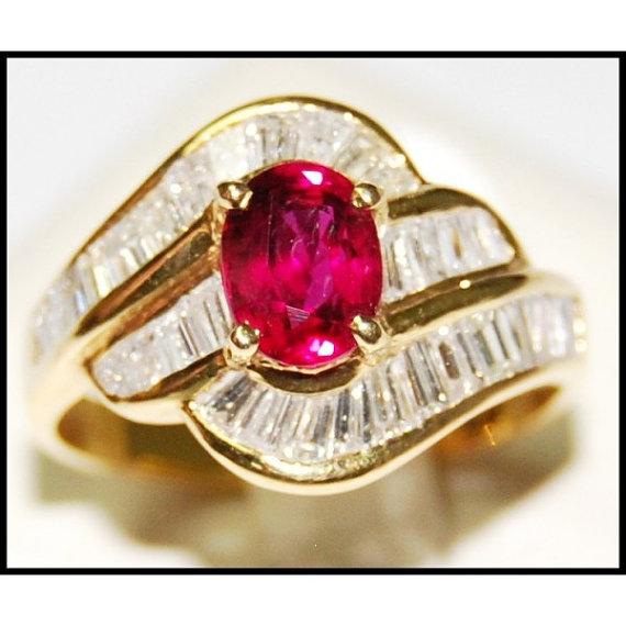 Jewelry Diamond 18K Yellow Gold Wedding Ruby Ring by BKGjewels