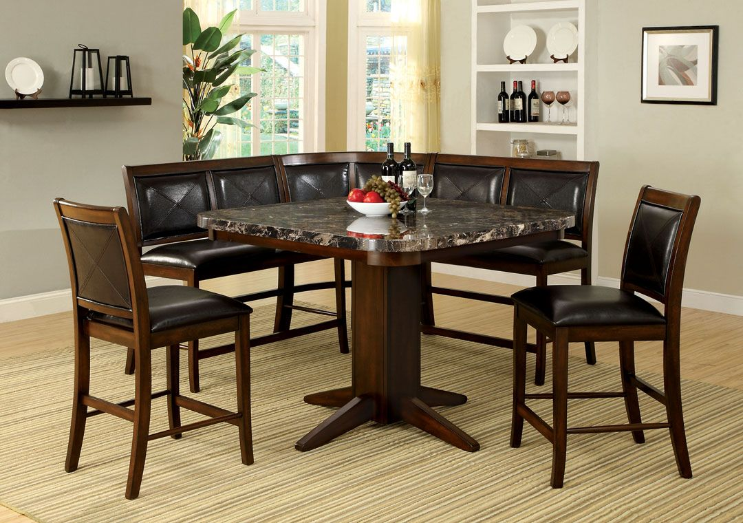 6 Pc Living Stone III Black Faux Marble Top Counter Height Dining Table Set  With Bench