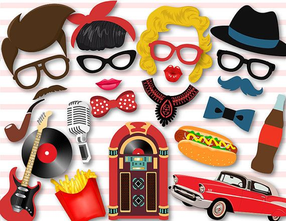 Instant Download 50s Photo Booth Props 1950s Party Photobooth