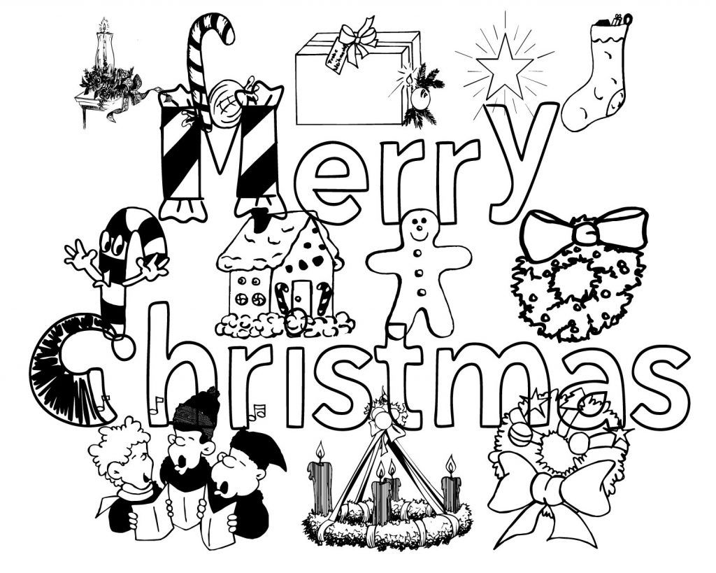 Printable Merry Christmas Coloring Pages For Kids Adults
