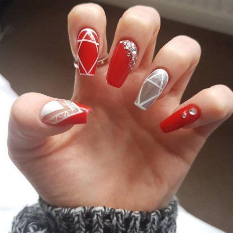cute red nail art design 2018