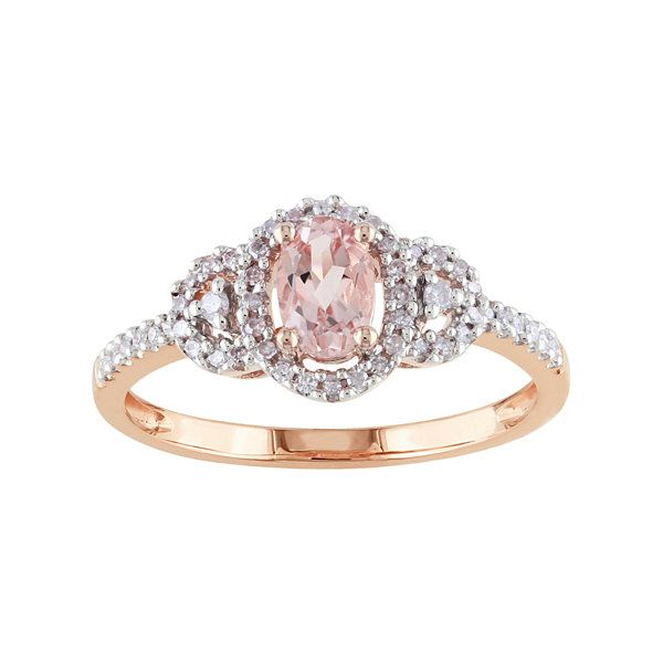 10K Rose Gold Genuine Pink Morganite Diamond Ring JCPenney