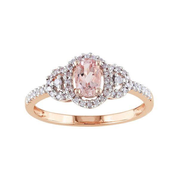 10K Rose Gold Genuine Pink Morganite Diamond Ring JCPenney