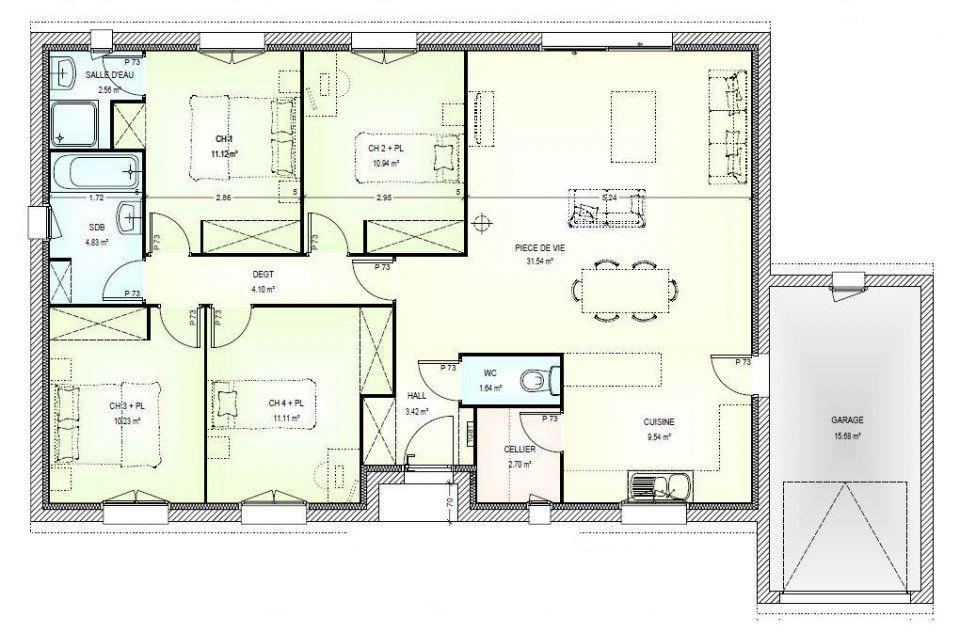 Plan maison neuve à construire - Marc Junior OPEN plain pied 103 - plan de maison de 100m2 plein pied