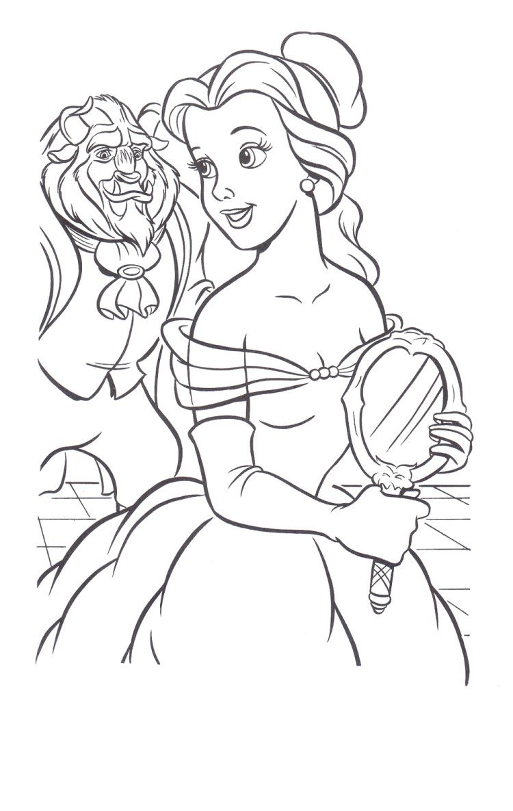 Beast Seeing The Beauty Belle Coloring Pages - Princess Belle ...