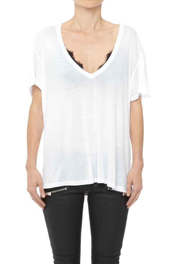0b54a342b7 Deep Vneck Tshirt - White | köpa | V neck t shirt, Shirts, Cool t shirts