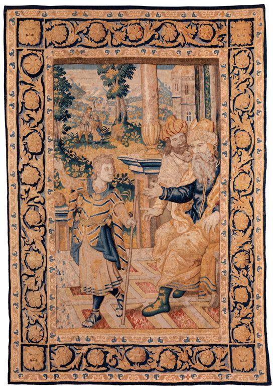 266 x 184 cm. Sechs Knoten per Zentimenter. Flandern, ausgehendes 16. Jahrhundert. Hochformatiger, flämischer Gobelin mit biblischer Szenerie. Szene aus der...