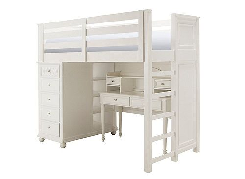 Jamboree Twin Storage Loft Bed w/ Desk and Hutch | Twin Beds | Raymour and Flanigan Furniture