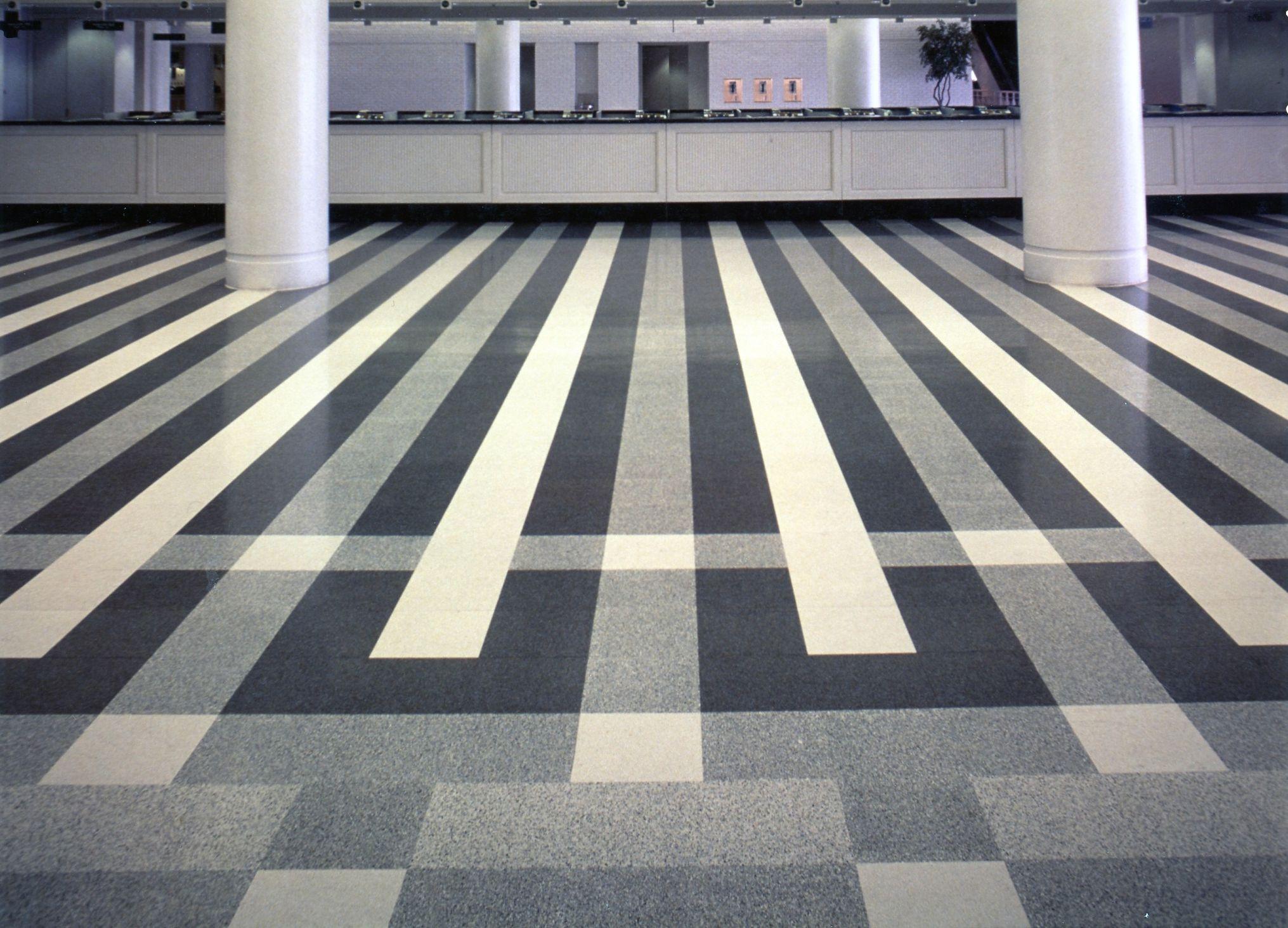 Fritztile terrazzo tile flooring cafeteria for High traffic flooring ideas