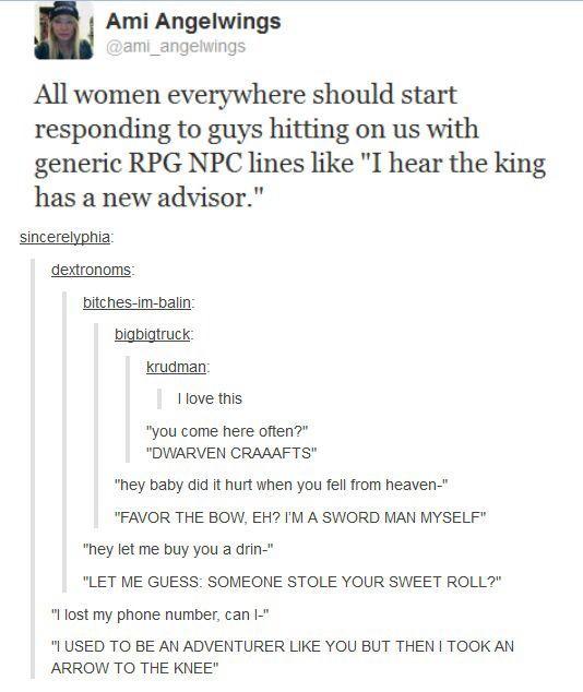 Responding to pick up lines like rpg npc's | Gaming | Pick