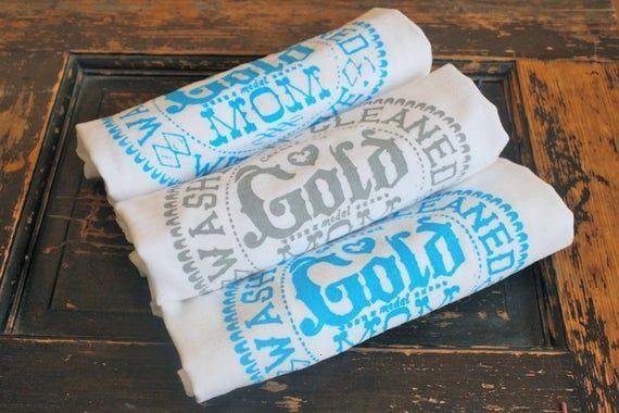 Day 3 Gold Medal MomKitchen Towels Gift for MOM Flour Sack Towels Tea Towels  Dish Towels  by Modern Vintage Market Mothers Day 3 Gold Medal MomKitchen Towels Gift for MO...