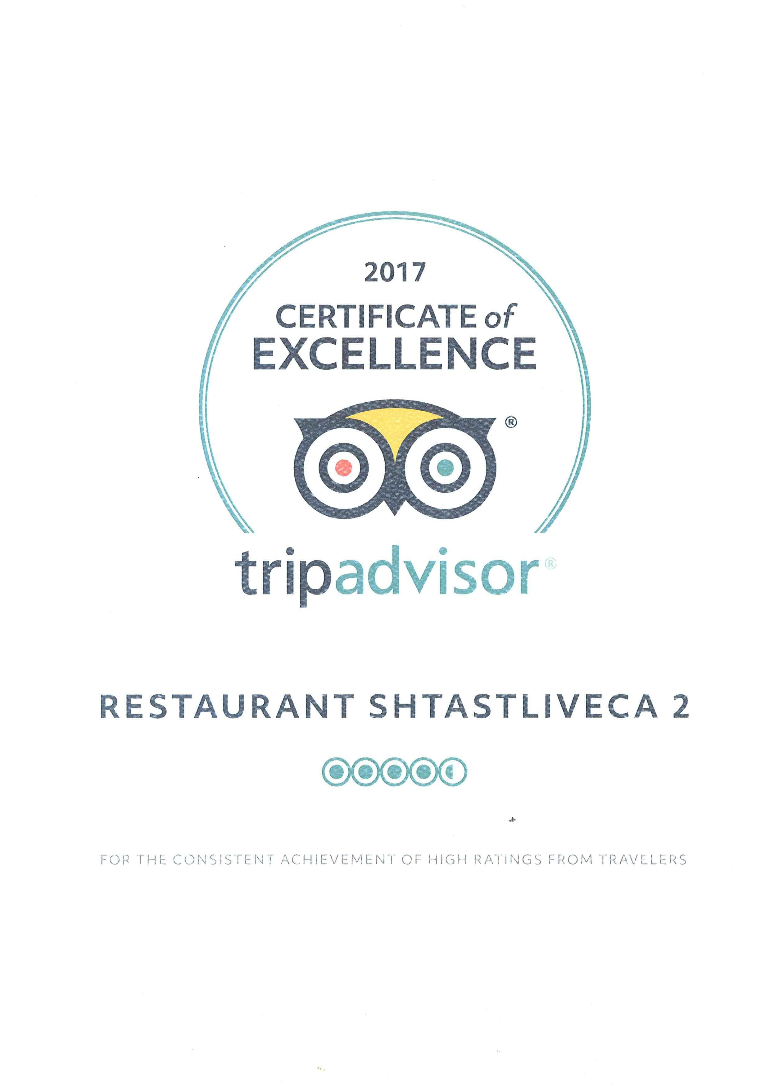 Tripadvisor Certificate Excellence Restaurant Shtastliveca