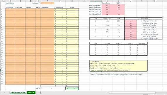 LipSense LipBoss distributor Full BookKeeping Spreadsheet - commission tracking spreadsheet