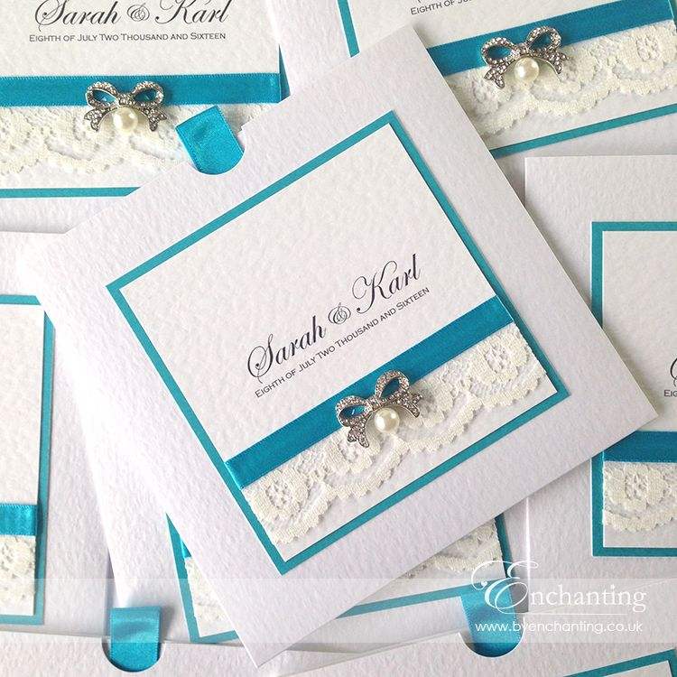 Teal Wedding Invitations The Snow White Collection Wallet