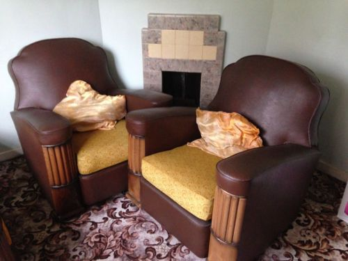 art deco 2str settee and chairs | eBay