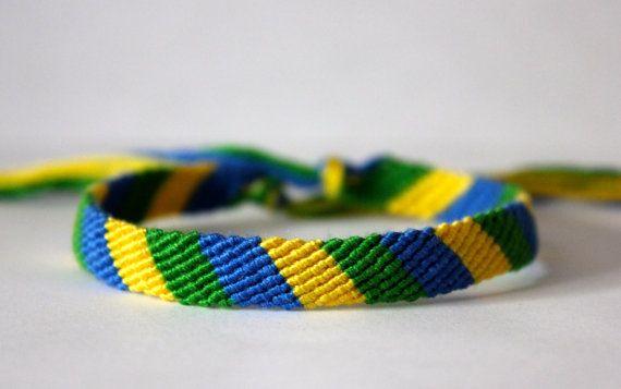 BRAZILIAN FLAG WORLD CUP COLOURED THREAD FRIENDSHIP BRACELET WRAP STRAP