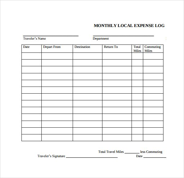 Expense Log Templates   Free Word Excel  Pdf Formats  Stuff