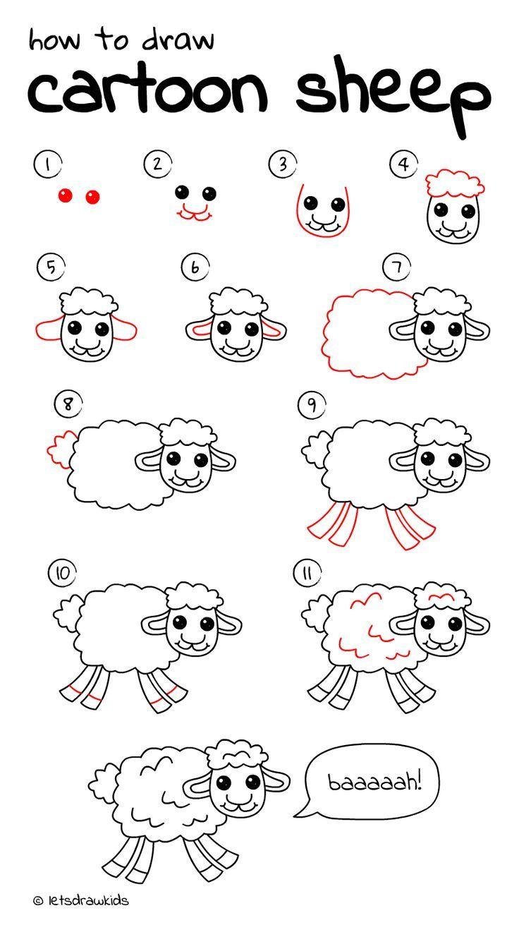 cartoon sheep Easy drawings, Sheep drawing, Cartoon