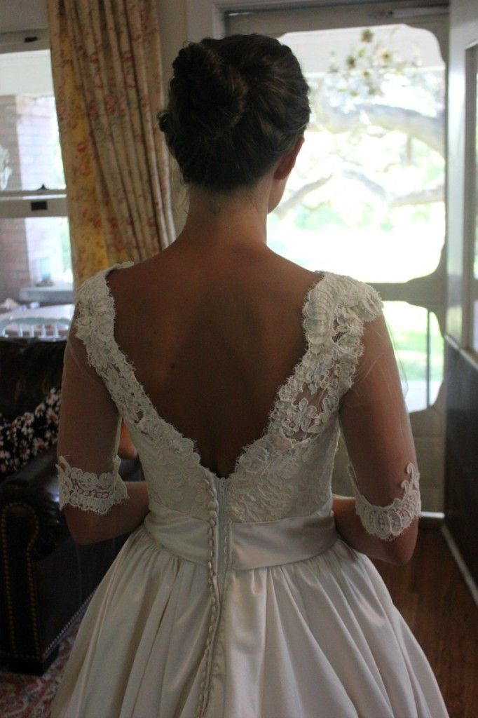1cad2d5d8203ab Adding a lace overlay with sleeves to a strapless wedding gown ...