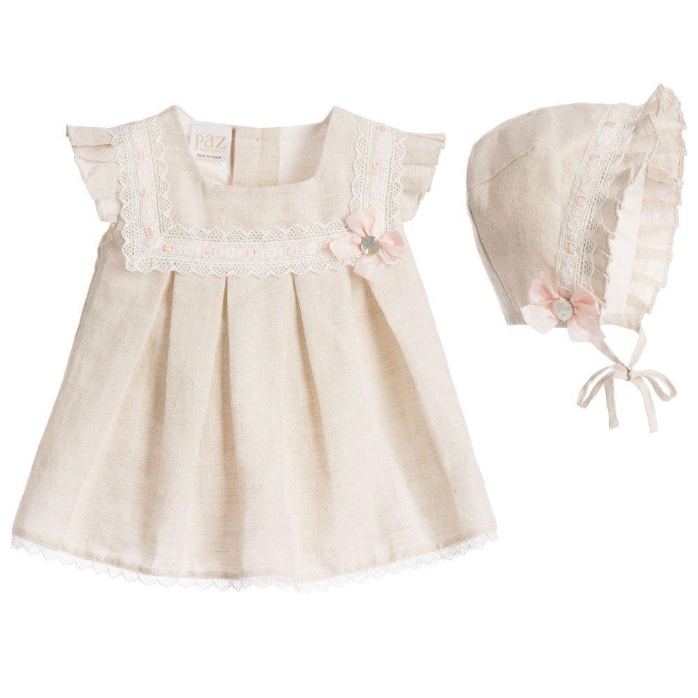 Paz Rodriguez Baby Girls Beige Linen Dress & Bonnet at Childrensalon.com