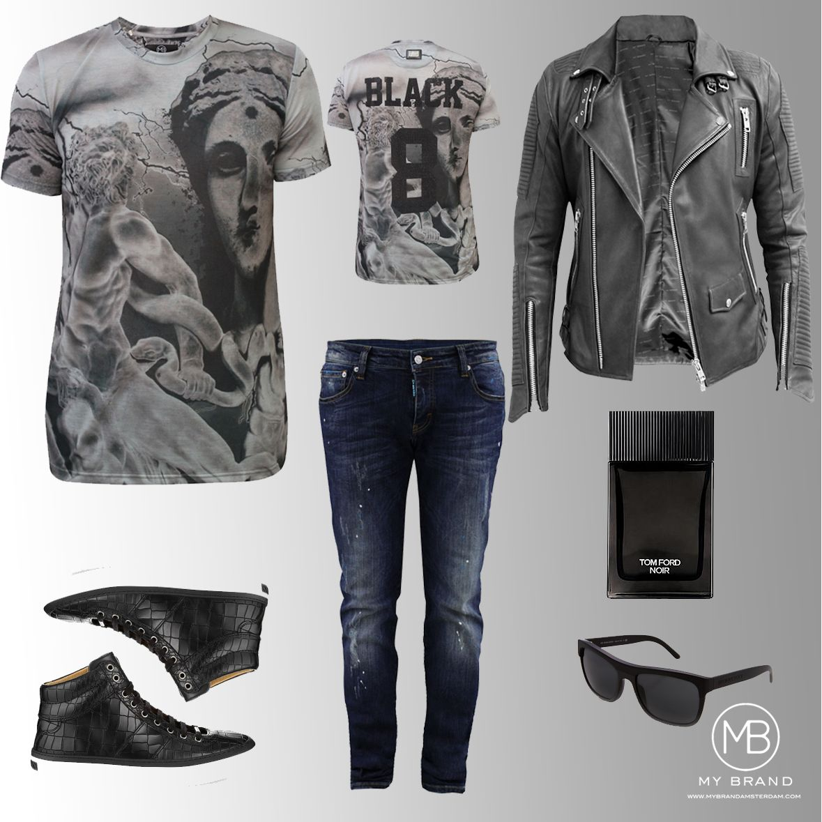 This weeks oufit and this time for our male fans. This outfit contains Black 8 all over Tee, our dark blue inked skinny jeans, and the Lambskin leather biker jacket in Black. Yay of Nay?