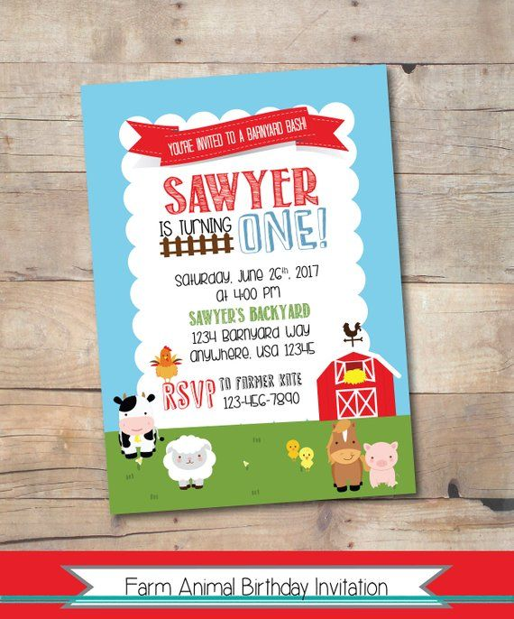Farm Party Birthday Invitation Printable Personalized Barnyard Invite Themed