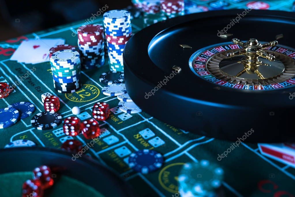 Poker Chips Roulette Gambling Games Concept Stock Photo