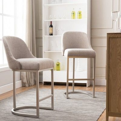 Set Of 2 Barrelback Bar Stool With Metal Base Pewter Oatmeal Linen Leick Home With Images Bar Stools Furniture Dining Room Bar